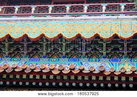 Detail of architecture in imperial garden Forbidden City the Palace Museum served as imperial palace for Ming and Qing Dynasties (1368 - 1911) north of Tiananmen Square. Beijing China