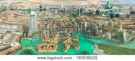 Dubai, United Arab Emirates - May 1, 2013: Aerial view of Dubai Mall, Fountain and Burj Khalifa Lake area in Dubai downtown