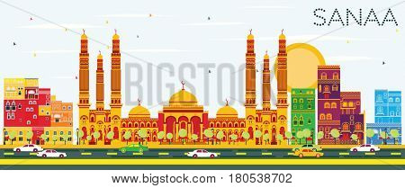 Sanaa (Yemen) Skyline with Color Buildings and Blue Sky. Business Travel and Tourism Concept with Modern Architecture. Image for Presentation Banner Placard and Web Site.