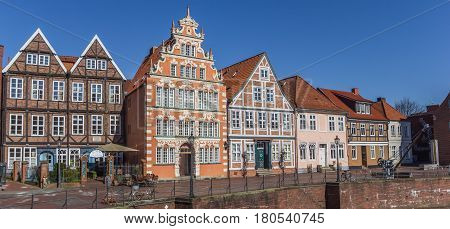 STADE, GERMANY - MARCH 27, 2017: Panorama of the old harbor in Hanseatic city Stade, Germany