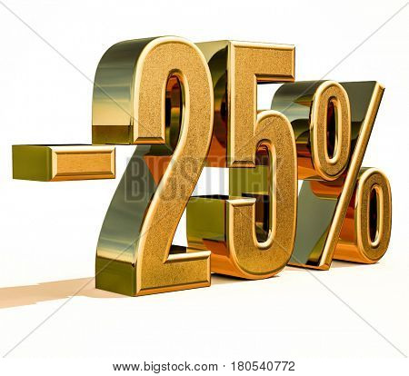 3d render: Gold -25%, Minus Twenty Five Percent Discount Sign