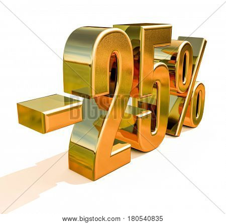 3d render: Gold -25%, Minus Twenty Five Percent Discount Sign