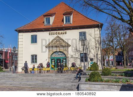 STADE, GERMANY - MARCH 27, 2017: Restaurant at the week market in Stade, Germany