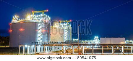 LNG terminal in SwinoujsciePoland.Night photo,Baltic sea coast