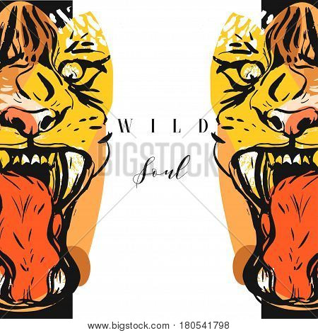 Hand drawn vector abstract graphic drawing of anger tigers faces in orange colors isolated on white background with handwritten calligraphy quote Wild soul.