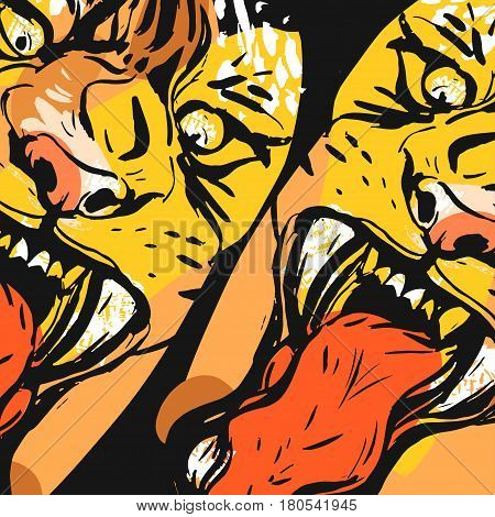 Hand drawn vector abstract graphic drawing of anger tiger faces in orange colors isolated on black background.Hand made exotic collage illustration.Wild soul concept.Tigers head isolated.Logosign