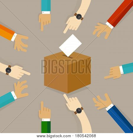 voting or polling election. people cast their vote insert paper their choice into the box. concept of participation togetherness on decision making vector