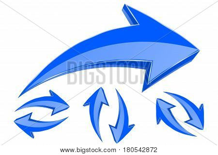 Arrows. Set of 3d blue arrows in circular motion. Vector illustration isolated on white background