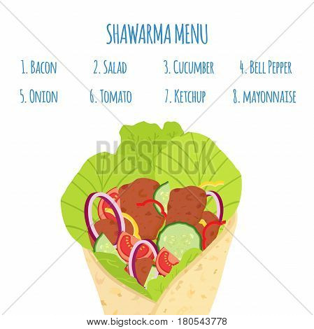 Shawarma menu with ingredients. Meat, cucumber, tomato, salad, onion, bell pepper and other. Kebab grilled meat, doner fastfood. Cartoon flat style.