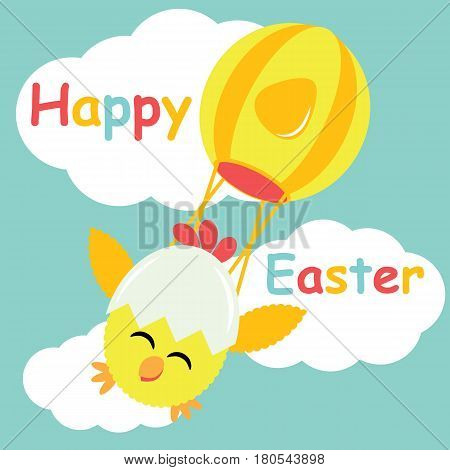 Vector cartoon of cute chick fly with hot air balloon for Easter postcard, wallpaper, and greeting card