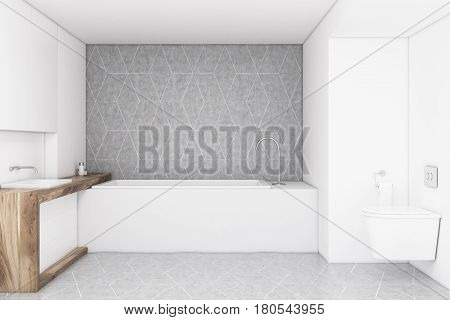 Bathroom with a gray wall a wooden sink a toilet and a rectangular bathtub. Concept of a cozy home. 3d rendering mock up