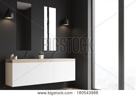 Side view of a modern beautiful bathroom with a long white double sink. The wall is black. 3d rendering