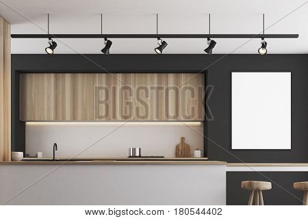 Black Kitchen With Bar And Poster, Closeup
