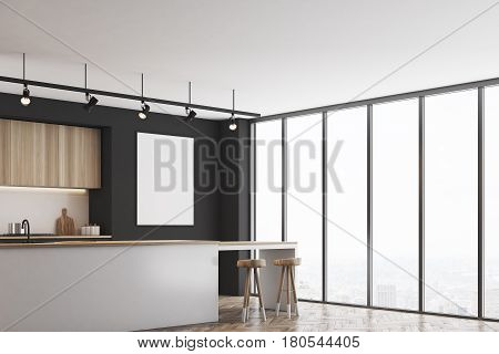 Black Kitchen With Bar And Poster, Corner