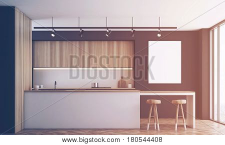 Black Kitchen With Bar And Poster, Toned