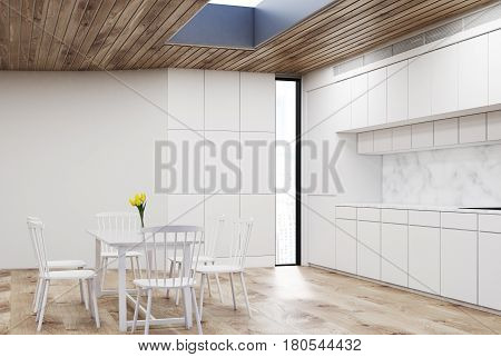 White Kitchen With Round Table, Wood