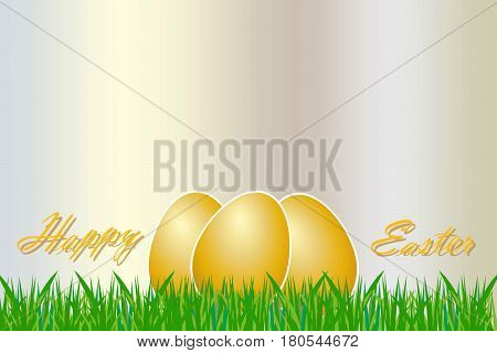 Three golden eggs with white borders are lying in the grass. The golden inscription Happy Easter is on the sides of the eggs