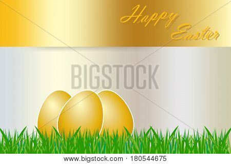 Three golden eggs with white borders are lying in the grass. The golden rectangle with golden inscription Happy Easter is on the top.