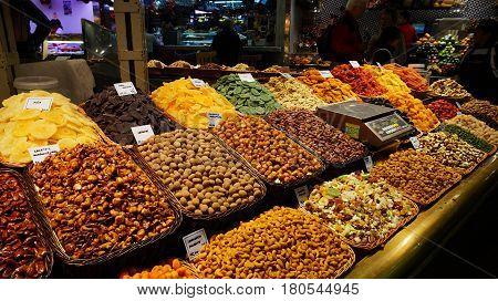 Various Type Of Nuts In La Boqueria Market