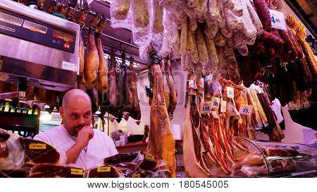 Meat Store At La Boqueria Market