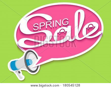 Spring sale. Sale banner with loudspeaker and calligraphic inscription in comic speech bubble. Vector illustration made in paper cut out style.