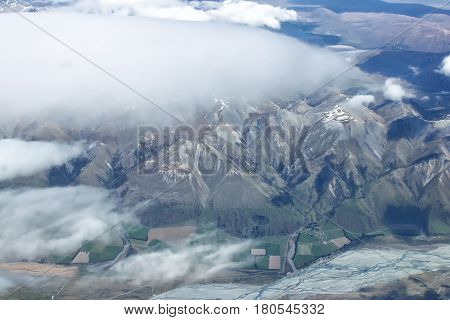 Aerial view of New Zealand mountains South Island. Photo is taken from airplane heading from Sydney to Christchurch.