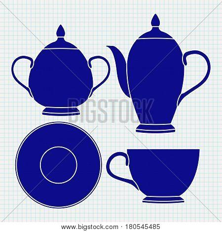 Tea set. Tableware blue icons. Vector illustration on notebook sheet background