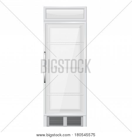 Display refrigerator. Glass sided merchandiser. Vector illustration isolated on white background