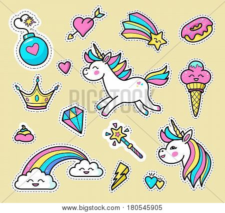 Unicorn badge set. Fashion vector patch badges with white unicorns hearts rainbow diamond star crown magic wand ice cream donut others. Stickers pins patches in cartoon 80s-90s comic style.