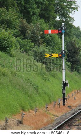 A Pair of Vintage Manually Operated Train Signals.