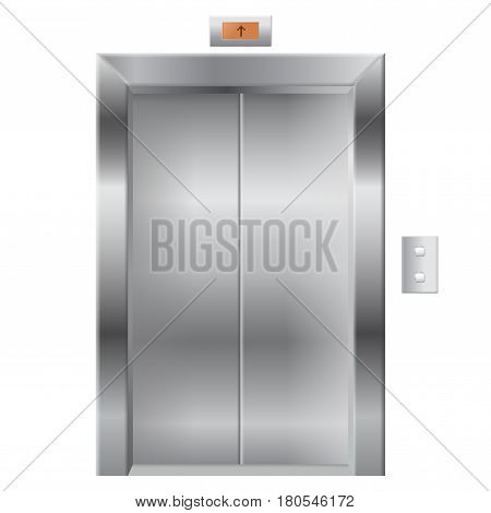 Elevator with closed doors. Vector illustration isolated on white background