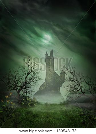 3D rendering of a spooky haunted castle