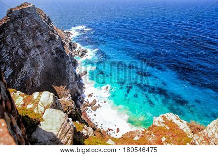 Cape of Good Hope, South Africa, view on the Atlantic ocean from a steep cliff
