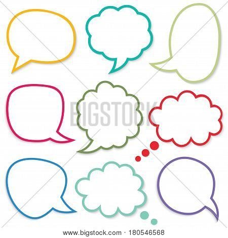 Speech and thought colorful bubbles, set of nine