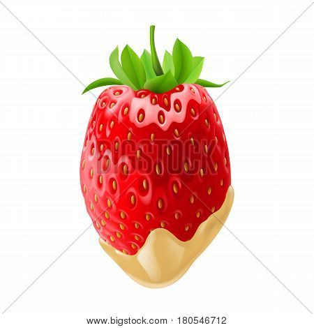 Tasty Strawberry Dipped in White Chocolate Fondue for Creative Design