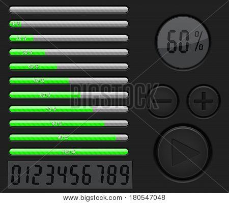 Installation, loading progress bar. Black interface with green bar. Vector 3d illustration