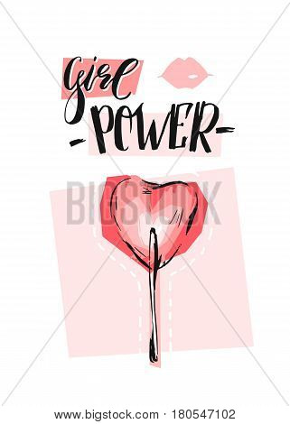 Hand drawn vector abstract graphic creative feminism card with heart shape lollipop and handwritten ink modern calligraphy phase Girl power in pastel pink colors isolated on white background.