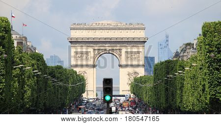 PARIS FRANCE - MAY 25 2015: Landscape view of Arch of Triumph from Champs-Elysees on May 25 2015 in Paris France