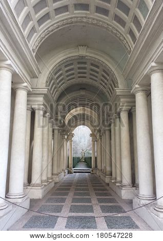 ROME ITALY - FEBRUARY 1 2015: Palazzo Spada the forced perspective gallery by Francesco Borromini. The baroque corridor is only nine meters long but looks much longer