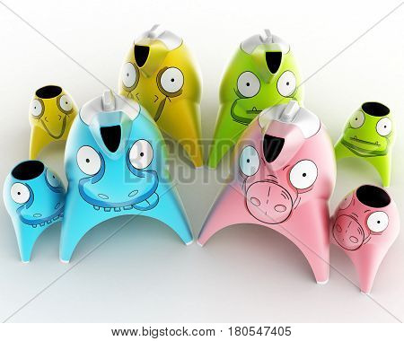 Tea and coffee children's service designed in the form of cartoon characters stylized for different animals. Design concept art object. 3D illustration.