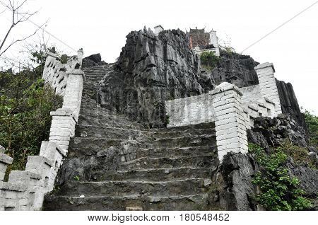 Ascending Stone Staircase To Hang Mua Pagoda, Ninh Binh, Vietnam