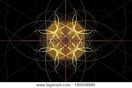 Abstract illustration of yellow lines intertwined in a symmetrical pattern with a cross in the background on a black background