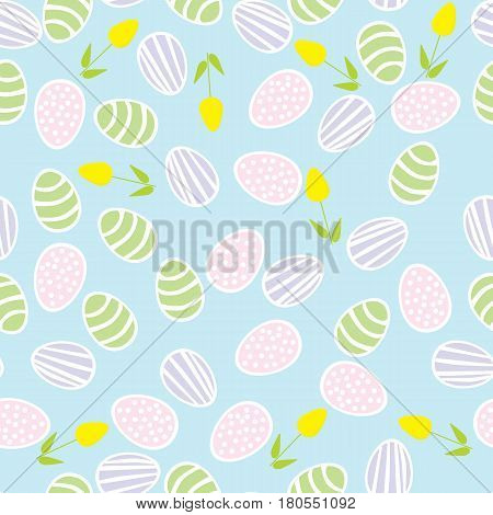 Seamless pattern of Easter eggs with flowers
