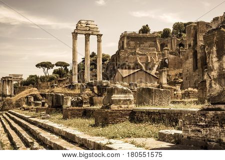 Roman Forum in Rome, Italy. Columns are the ruins of the temple of Castor & Pollux.