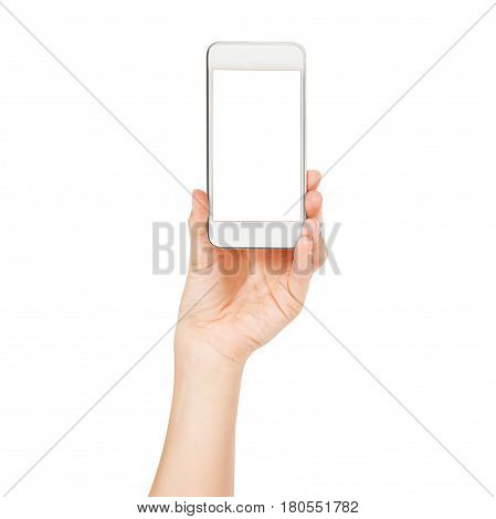 Woman hand holding the white smartphone isolated. Female hands showing smart phone of blank white touch screen, front view.