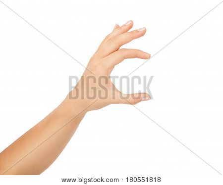 Women hand to hold business card , credit card, blank paper or other isolated on white background