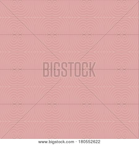 Abstract geometric seamless background, plain, in quiet colors. Regular spirals and diamond pattern white shining on pink.