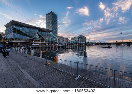 SYDNEY AUSTRALIA - April 8 2017 : Darling Harbour adjacent to the city center of Sydney and also a recreational place in Sydney central business district