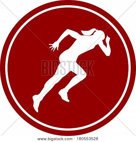 icon sprint running girl athlete white silhouette red circle