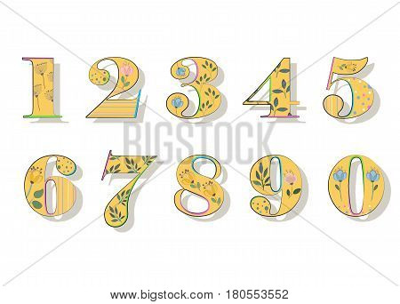 Floral Numerals. Yellow Symbols with colorful decor and Watercolor Flowers. Vector Illustration